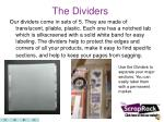 the dividers