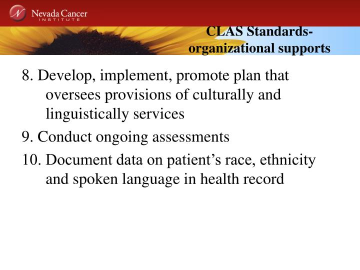 CLAS Standards- organizational supports