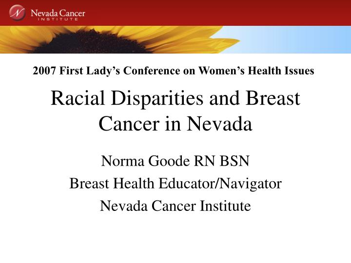 racial disparities and breast cancer in nevada n.