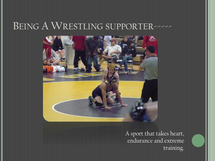 Being a wrestling supporter