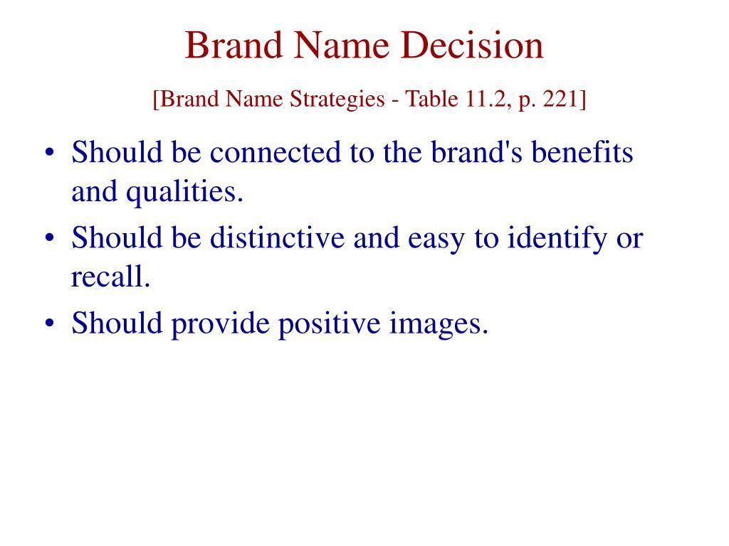 Brand Name Decision