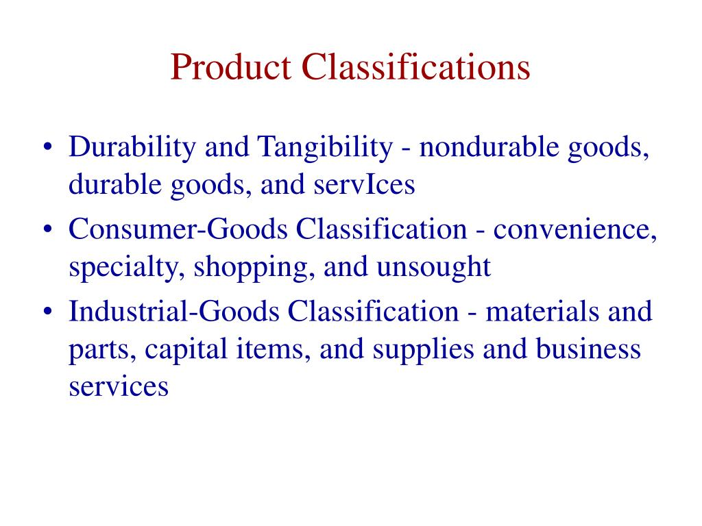 Product Classifications