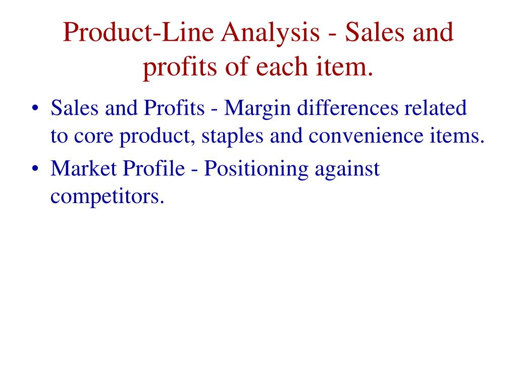 Product-Line Analysis - Sales and profits of each item.