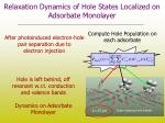 relaxation dynamics of hole states localized on adsorbate monolayer