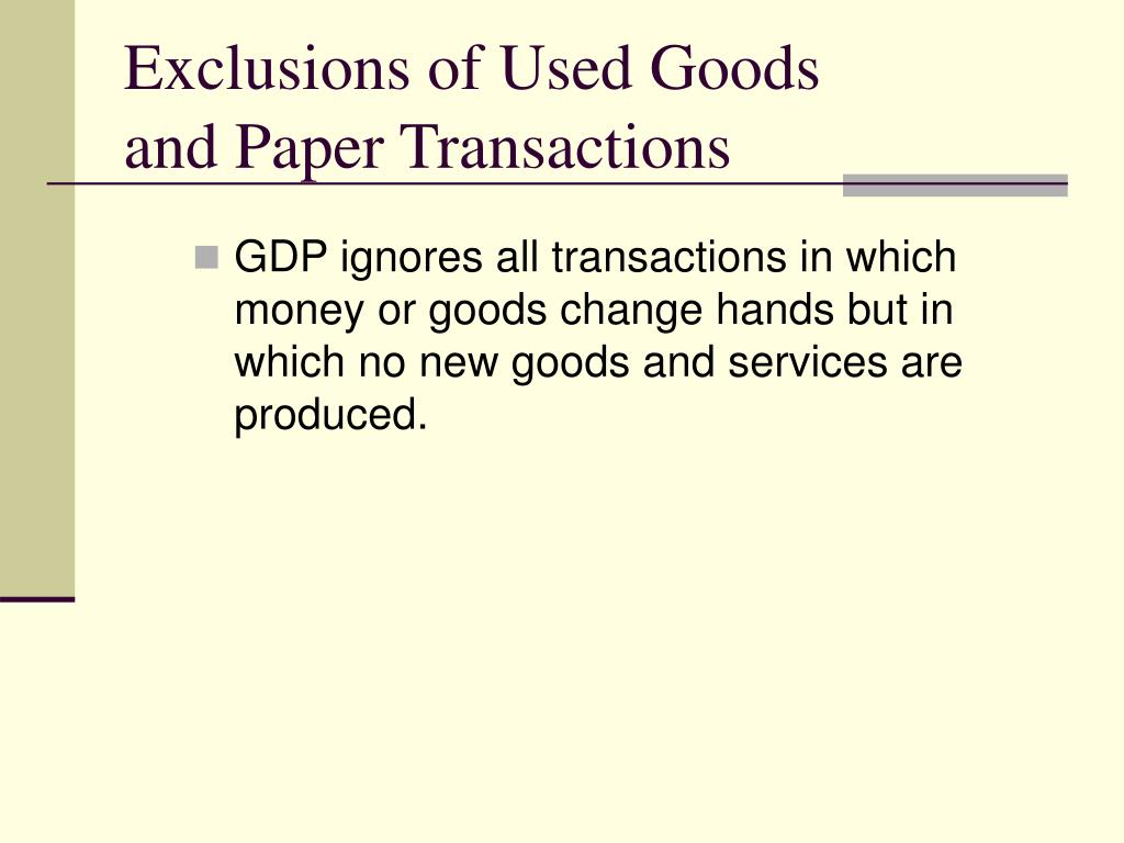 Exclusions of Used Goods