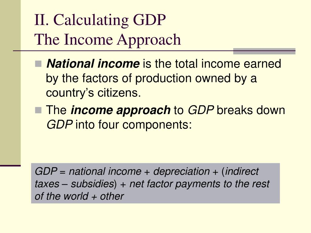 II. Calculating GDP