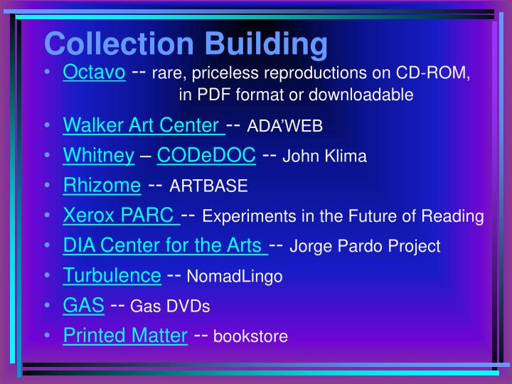 Collection building