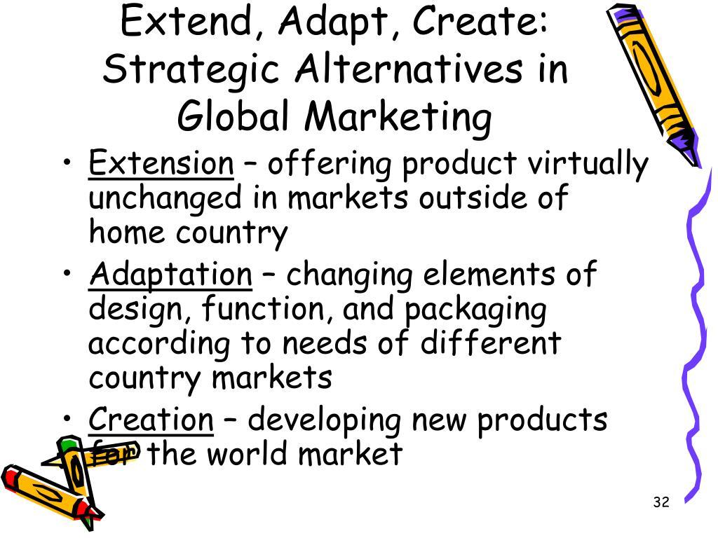 Extend, Adapt, Create: Strategic Alternatives in Global Marketing