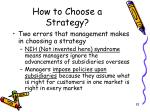 how to choose a strategy