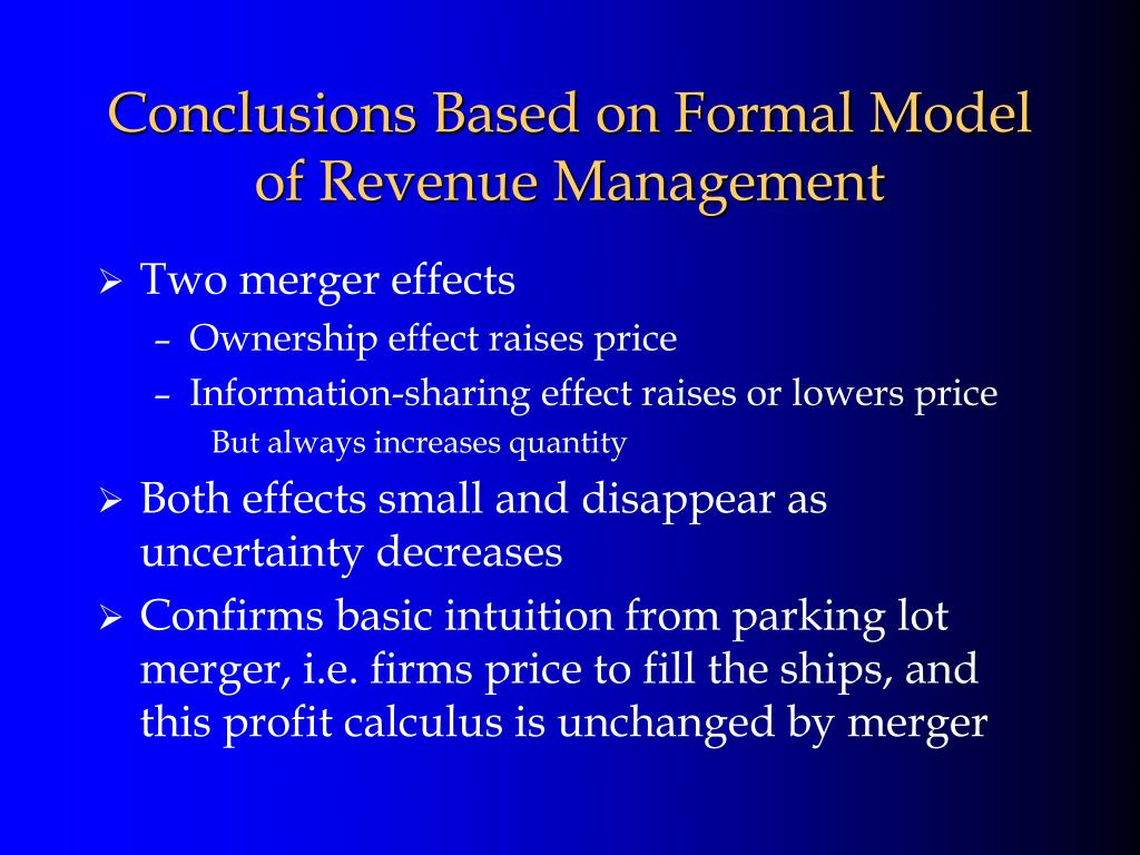 Conclusions Based on Formal Model of Revenue Management