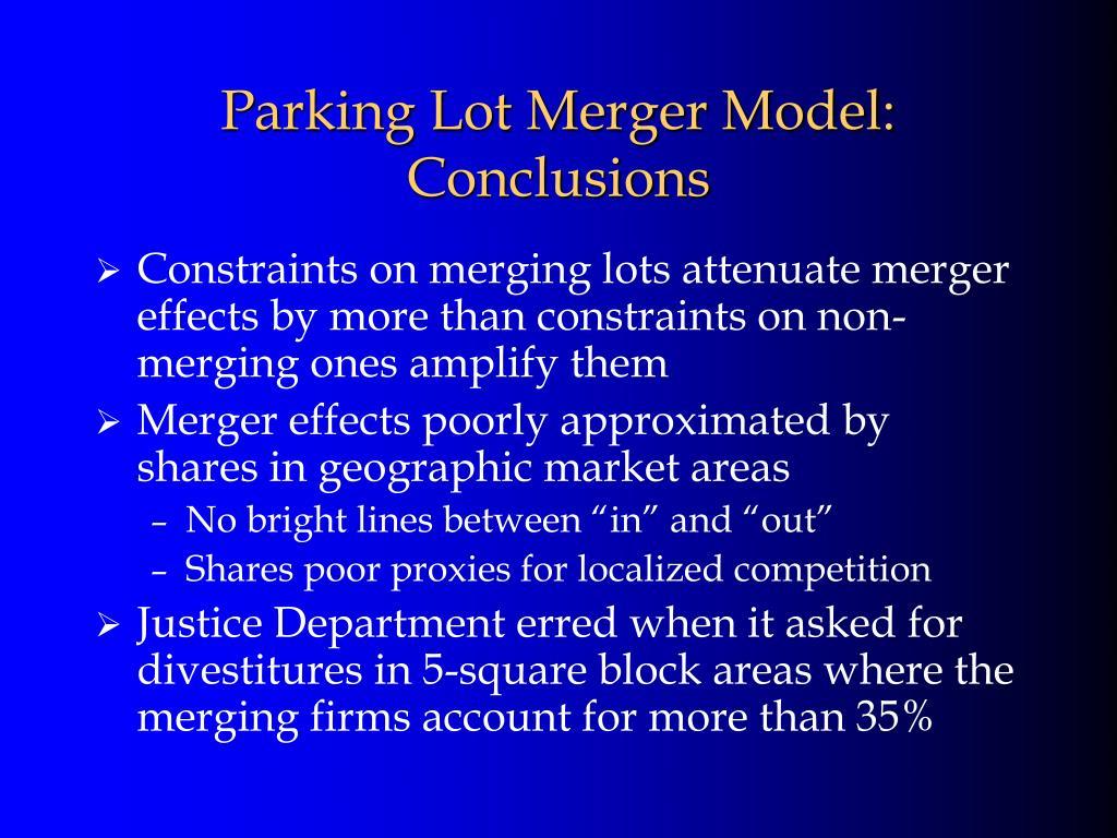 Parking Lot Merger Model:
