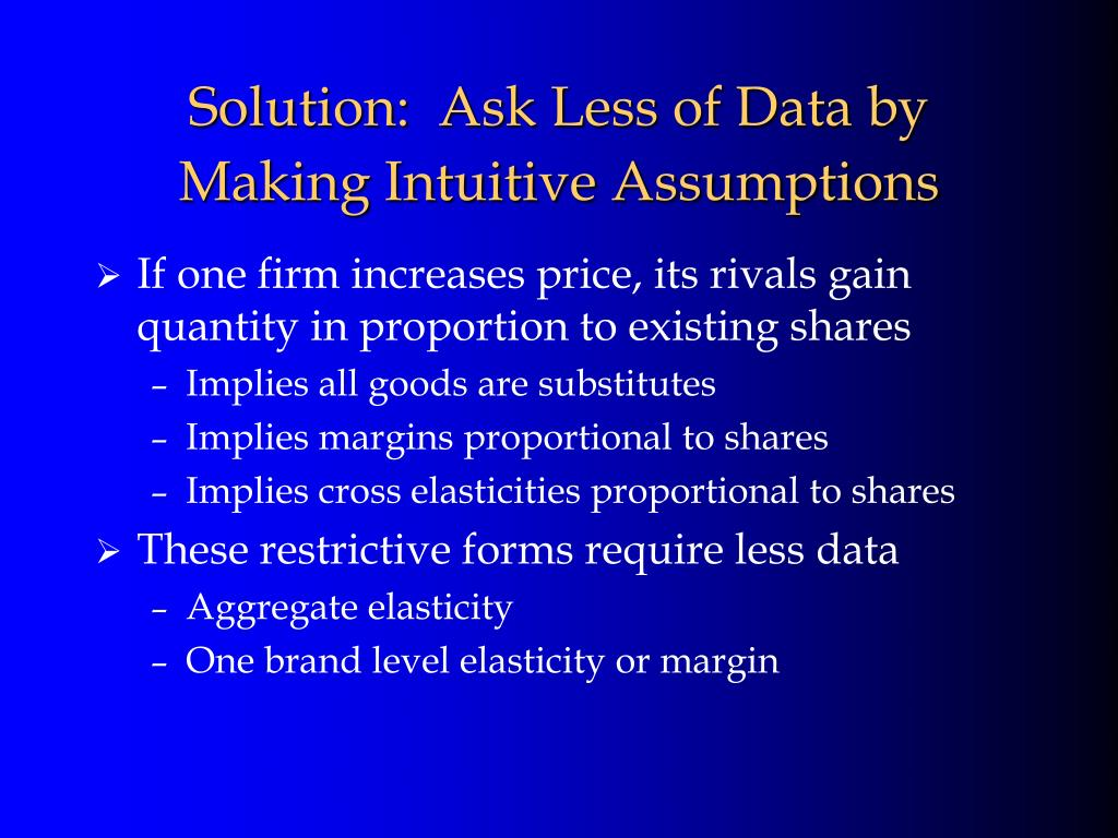 If one firm increases price, its rivals gain quantity in proportion to existing shares