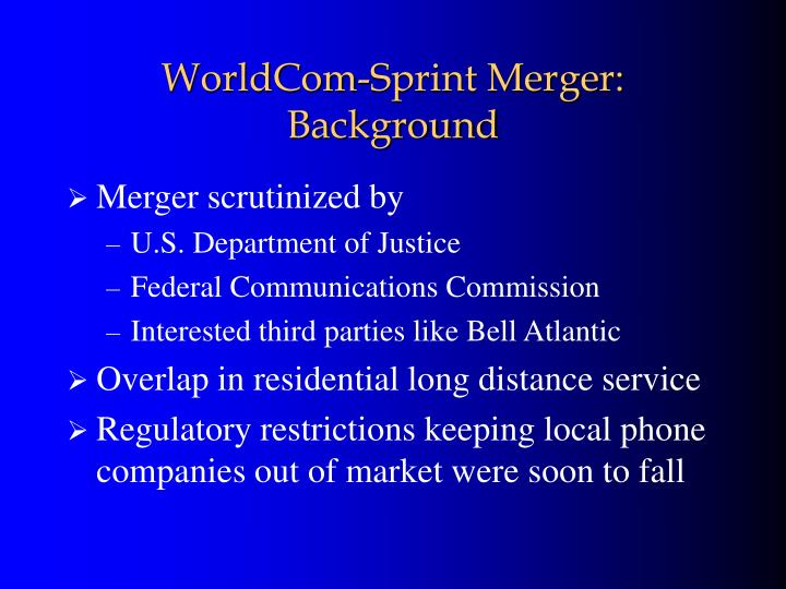 Worldcom sprint merger background