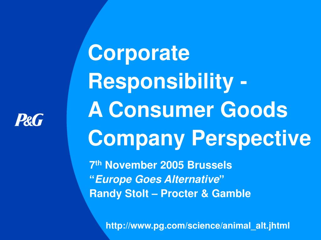 corporate responsibility a consumer goods company perspective l.