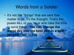 words from a soldier