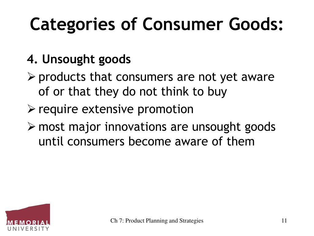 Categories of Consumer Goods: