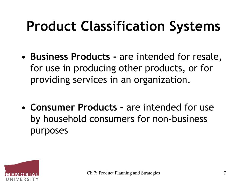 Product Classification Systems