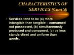 characteristics of services cont d