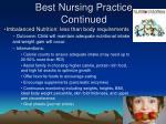 best nursing practice continued