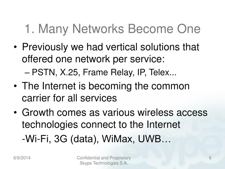 1. Many Networks Become One