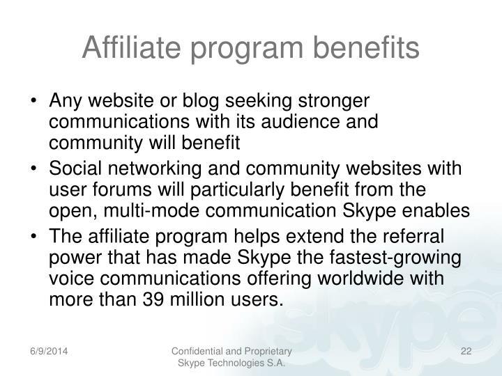 Affiliate program benefits