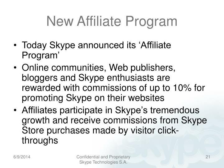New Affiliate Program