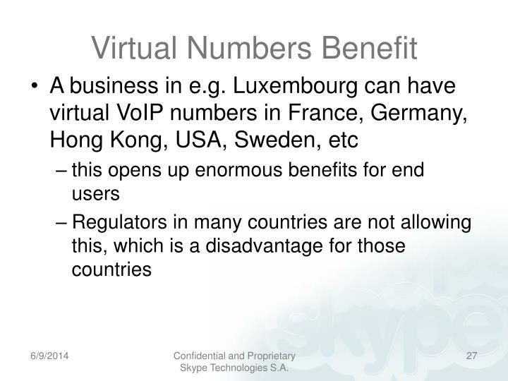Virtual Numbers Benefit