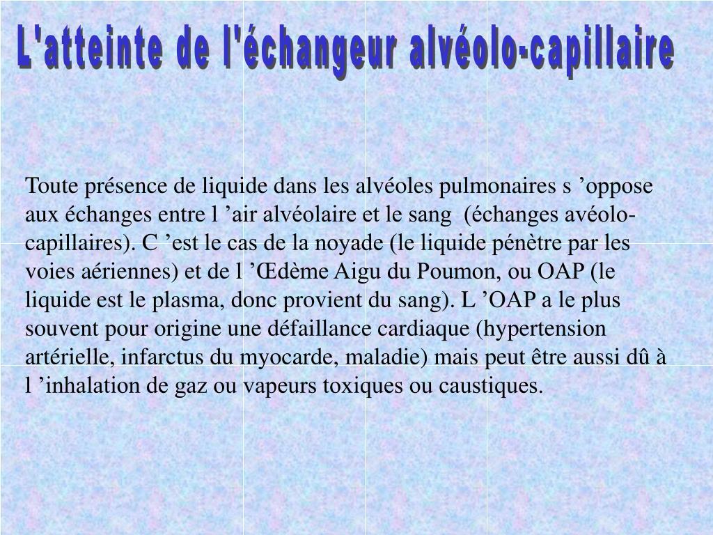 L'atteinte de l'échangeur alvéolo-capillaire