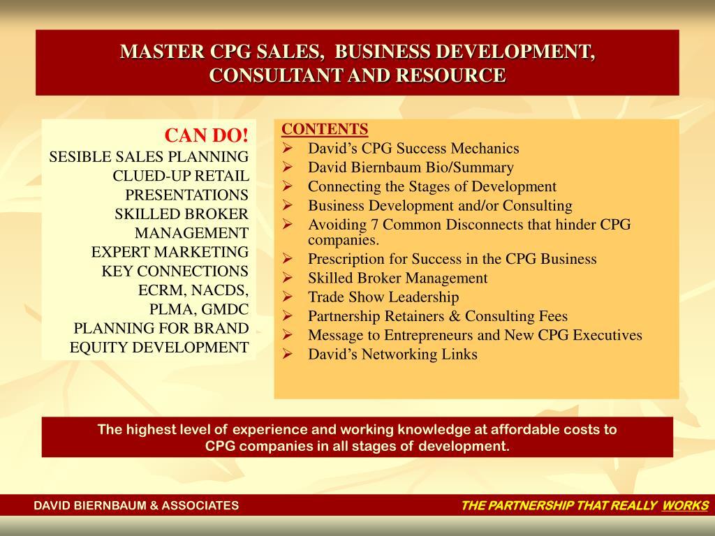 MASTER CPG SALES,  BUSINESS DEVELOPMENT,