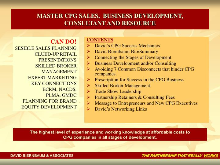 Master cpg sales business development consultant and resource