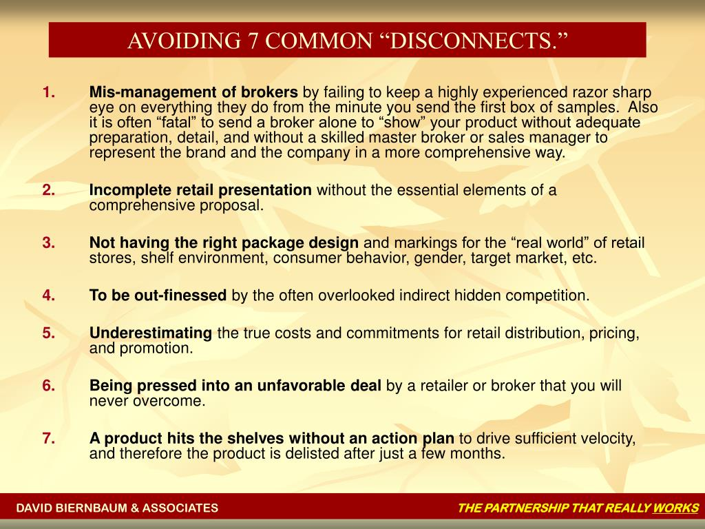 """AVOIDING 7 COMMON """"DISCONNECTS."""""""