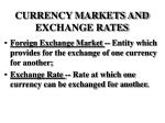 currency markets and exchange rates
