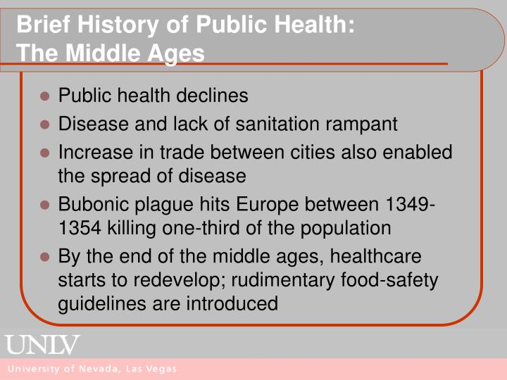 Brief history of public health the middle ages