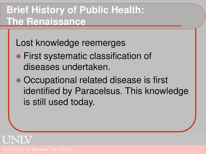 Brief History of Public Health: