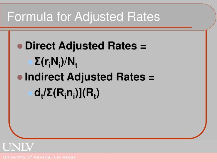 Formula for Adjusted Rates