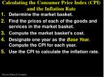 calculating the consumer price index cpi and the inflation rate