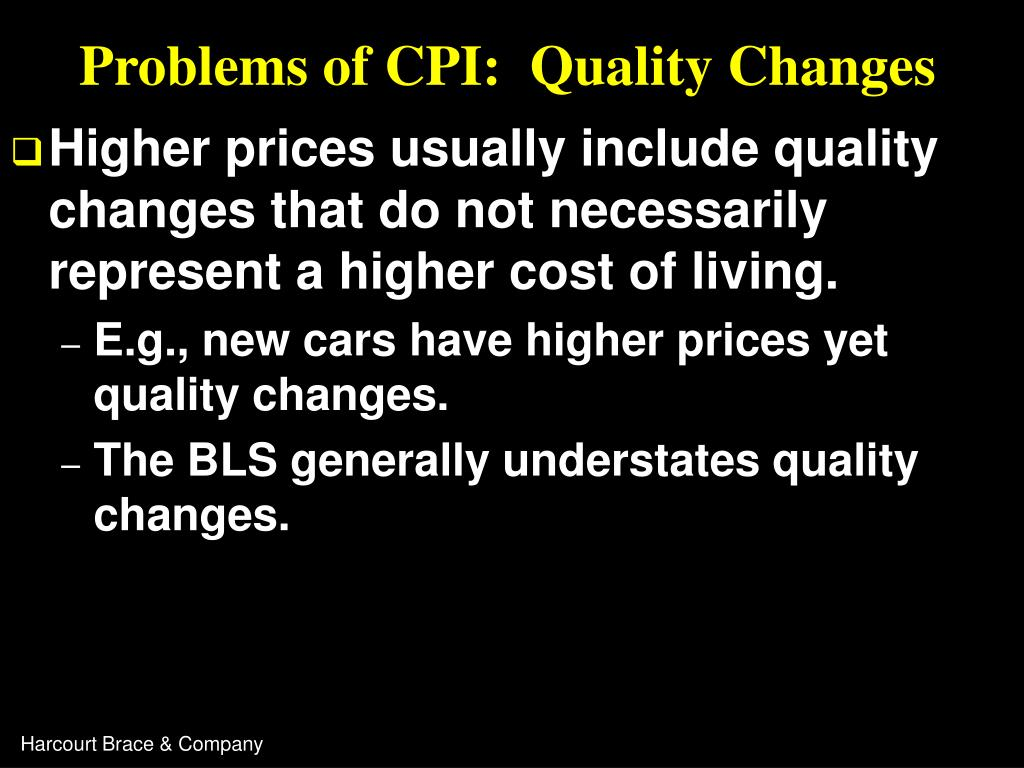 Problems of CPI:  Quality Changes