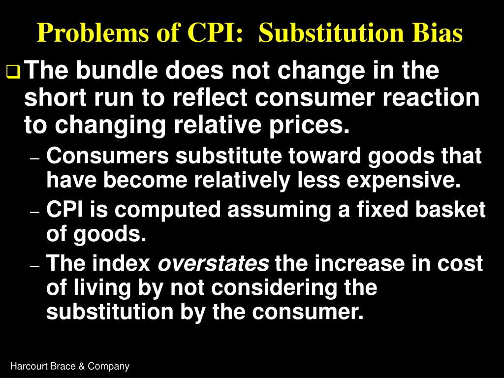 Problems of CPI:  Substitution Bias