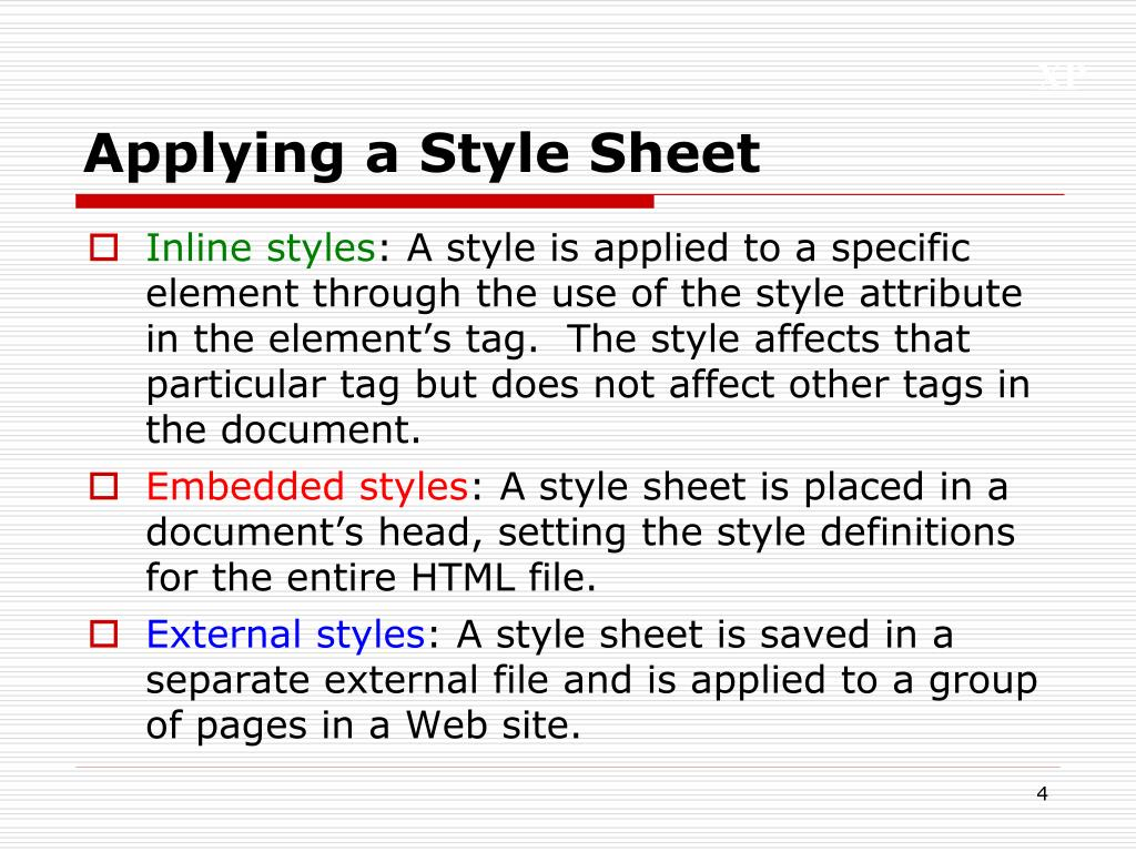 Applying a Style Sheet