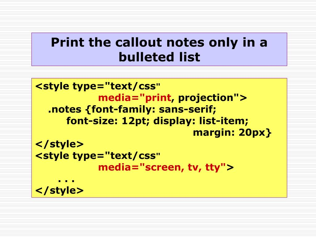 Print the callout notes only in a bulleted list