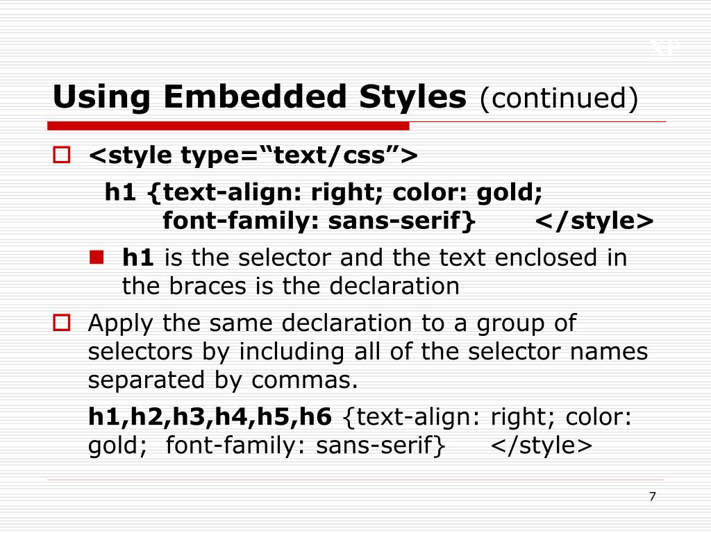 Using Embedded Styles