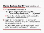 using embedded styles continued