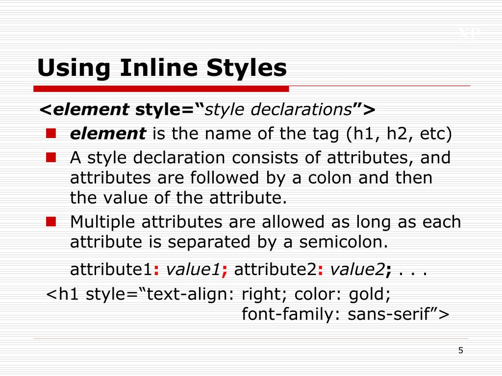 Using Inline Styles