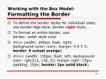 working with the box model formatting the border26