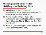 working with the box model setting the padding size