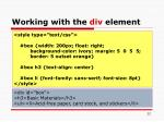 working with the div element22