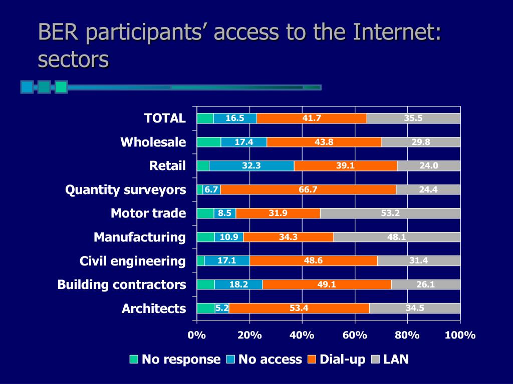BER participants' access to the Internet: sectors