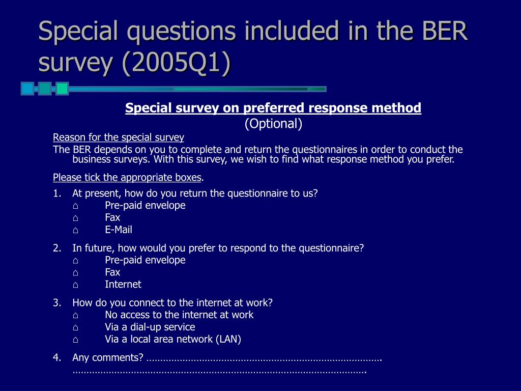 Special questions included in the BER survey (2005Q1)
