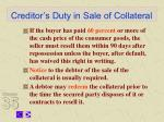 creditor s duty in sale of collateral
