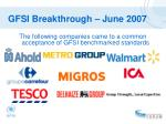 gfsi breakthrough june 2007